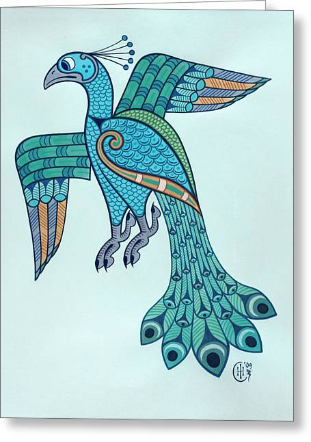 Knotwork Greeting Cards - Peacock Greeting Card by Ian Herriott