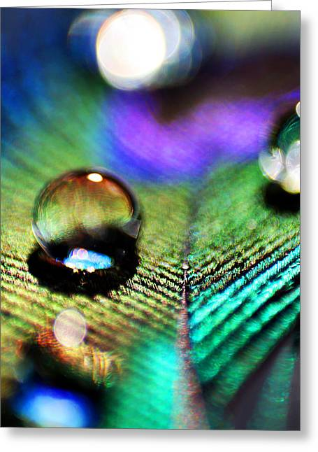 Blue Green Water Greeting Cards - Peacock Jewel Greeting Card by Kerry Langel