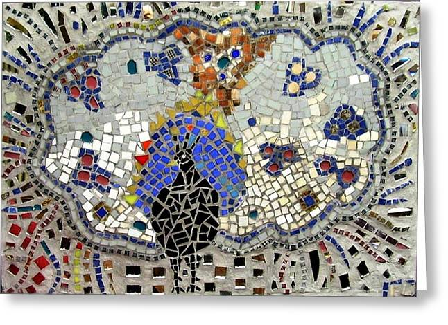 Mosaic Reliefs Greeting Cards - Peacock Greeting Card by Roberto Lacentra