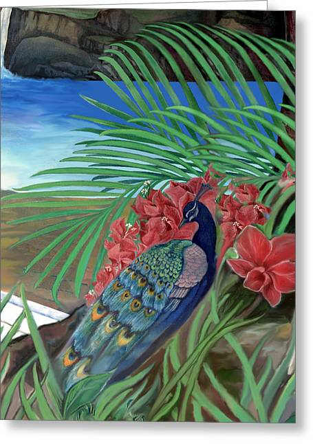 Elephant Seals Paintings Greeting Cards - Peacock Greeting Card by Sevan Thometz