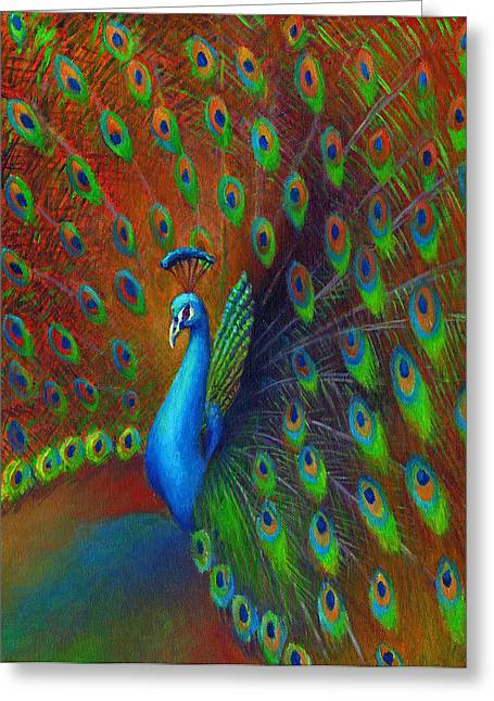 Tail Feather Greeting Cards - Peacock Spread Greeting Card by Nancy Tilles