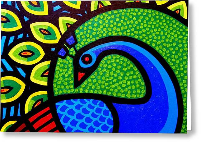 Tropical Bird Art Print Greeting Cards - Peacock VIII Greeting Card by John  Nolan
