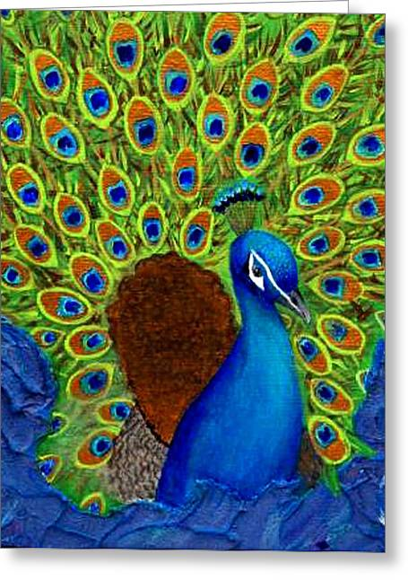 Charlotte Mixed Media Greeting Cards - Peacocks Delight Greeting Card by The Art With A Heart By Charlotte Phillips