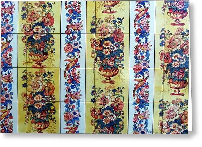 Yellows Ceramics Greeting Cards - Peacon Greeting Card by Paula Teresa