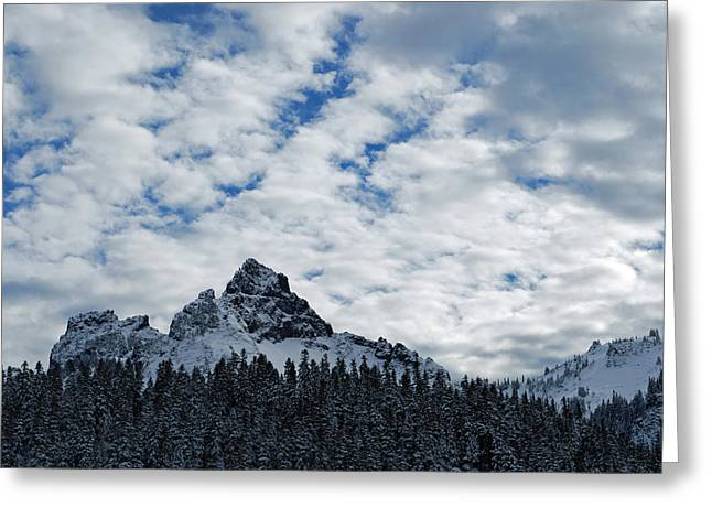Peaks Near Mout Rainier Greeting Card by Twenty Two North Photography