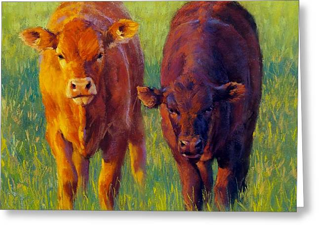 Swiss Pastels Greeting Cards - Peanut and Cocoa Greeting Card by Brian Freeman