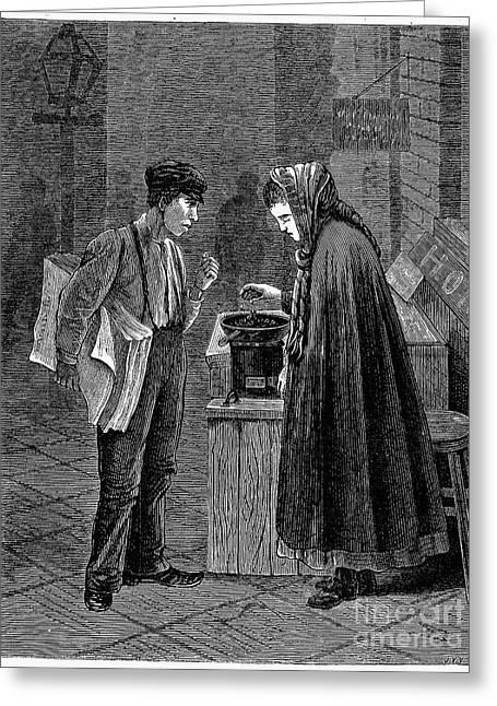 Peddler Greeting Cards - Peanut Peddler, 1877 Greeting Card by Granger