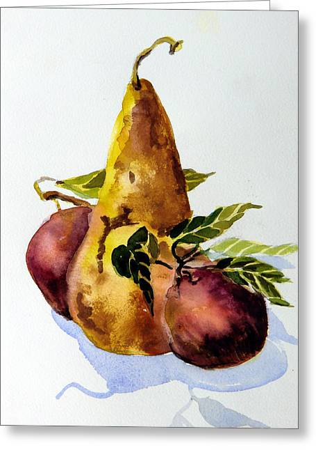 Snack Drawings Greeting Cards - Pear and Apples Greeting Card by Mindy Newman
