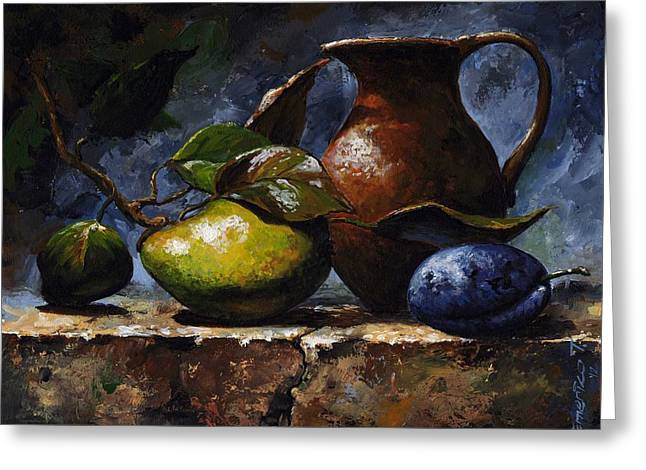 Old Vase Greeting Cards - Pear and plum Greeting Card by Emerico Imre Toth