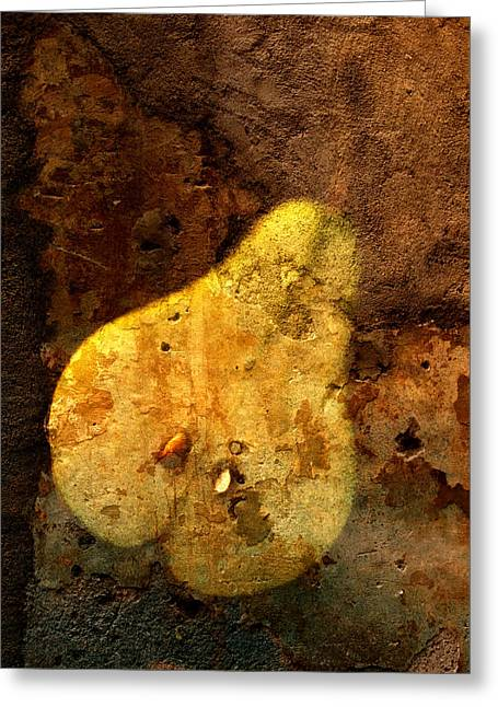 Pear Prints Greeting Cards - Pear in Stone Greeting Card by John Wong