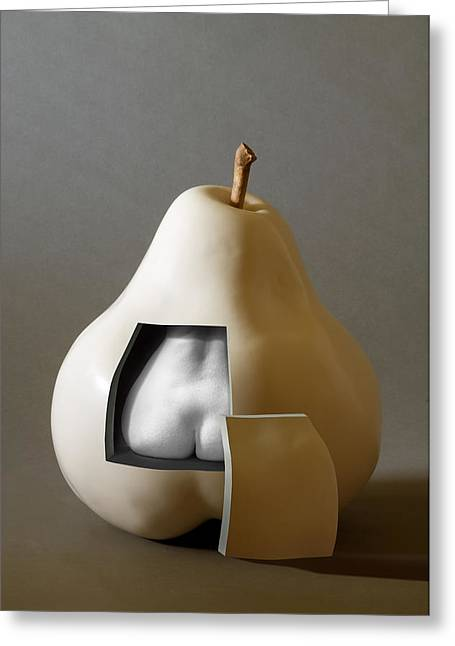 Pear Art Greeting Cards - Pear Nude Greeting Card by Ron Schwager