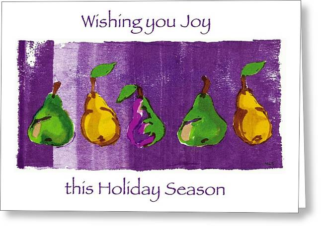 Pear Art Drawings Greeting Cards - Pear Parade Greeting Card by Marla Saville