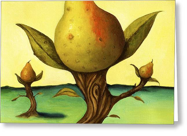 Pear Tree Paintings Greeting Cards - Pear Trees 2 Greeting Card by Leah Saulnier The Painting Maniac
