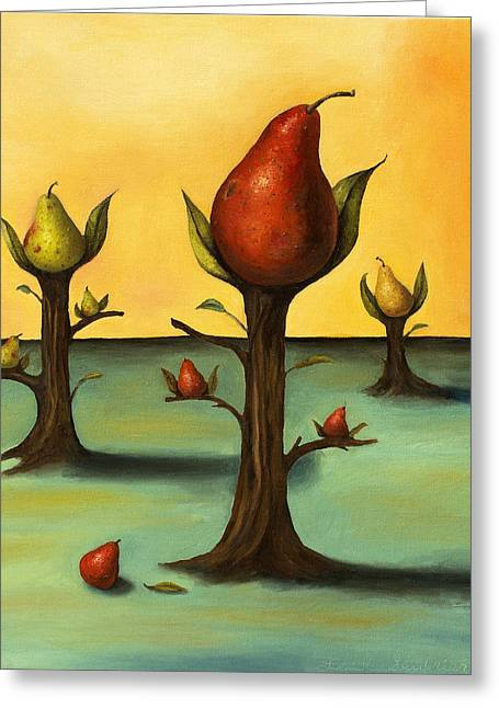 Pear Tree Paintings Greeting Cards - Pear Trees 3 Greeting Card by Leah Saulnier The Painting Maniac