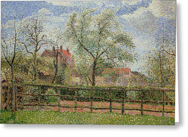 Fruit And Flowers Greeting Cards - Pear Trees and Flowers at Eragny Greeting Card by Camille Pissarro