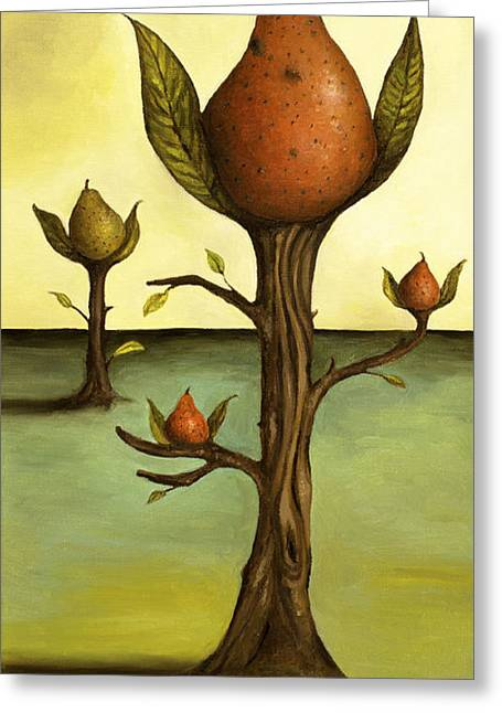 Pear Tree Paintings Greeting Cards - Pear Trees Greeting Card by Leah Saulnier The Painting Maniac