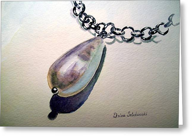 Chained Paintings Greeting Cards - Pearl Greeting Card by Irina Sztukowski