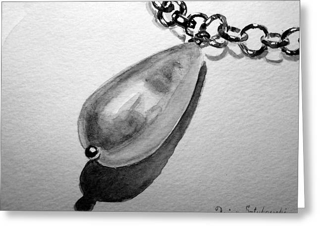 Chained Paintings Greeting Cards - Pearl Necklace Greeting Card by Irina Sztukowski