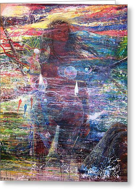 Puerto Rico Mixed Media Greeting Cards - Pearl od thw Caribbean - La Perla del Caribe Greeting Card by Miguel Conesa Osuna