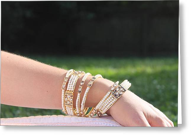 Pearl Of India Bangles Greeting Card by Courtney Hancock