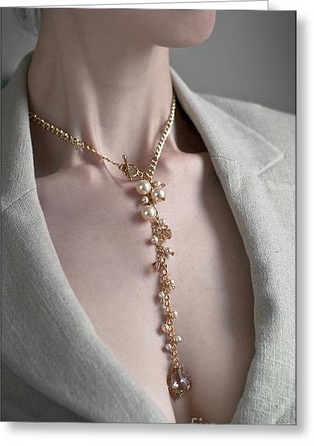 Gold Necklace Greeting Cards - Pearls and Crystals Greeting Card by Eena Bo