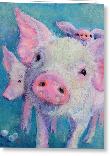 Pigs Pastels Greeting Cards - Pearls Before Swine Greeting Card by Julia Patterson