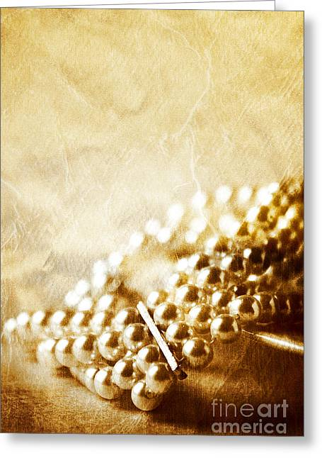 Bracelet Greeting Cards - Pearls Greeting Card by HD Connelly