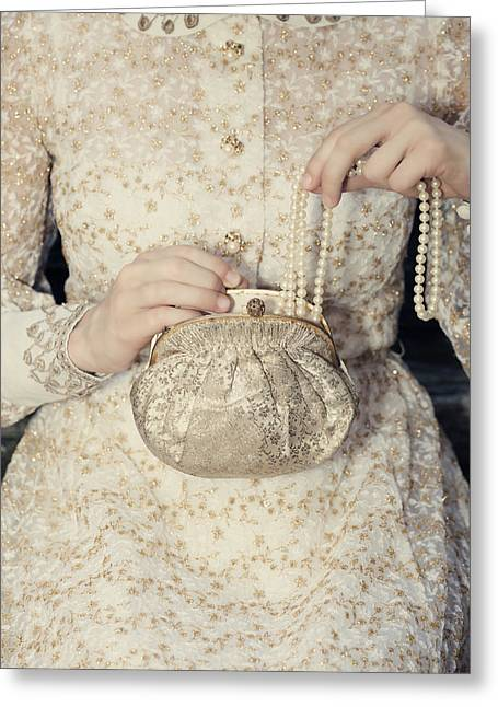 Evening Handbag Greeting Cards - Pearls Greeting Card by Joana Kruse