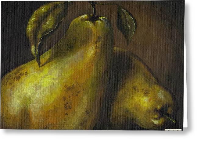 Interior Still Life Greeting Cards - Pears Greeting Card by Adam Zebediah Joseph