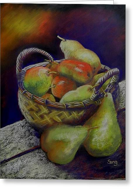 Apple Pastels Greeting Cards - Pears and Apples Greeting Card by Sandra Sengstock-Miller
