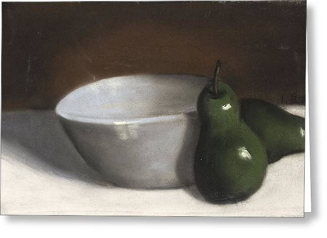 Illustrative Pastels Greeting Cards - Pears and Bowl Greeting Card by L Cooper