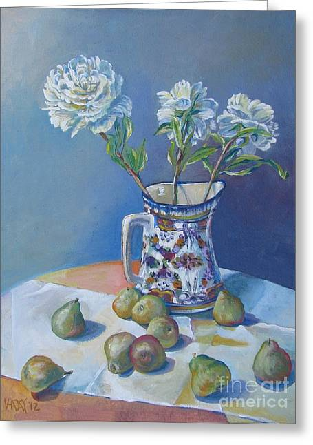 Stockton Paintings Greeting Cards - pears and Talavera table pitcher Greeting Card by Vanessa Hadady BFA MA