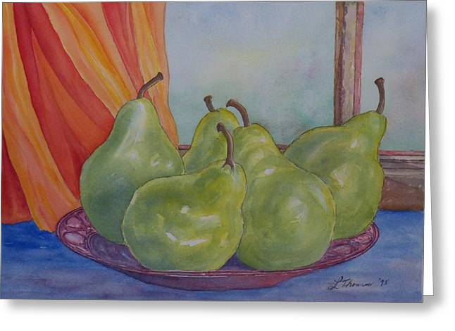 Pears At The Window Greeting Card by Laurel Thomson