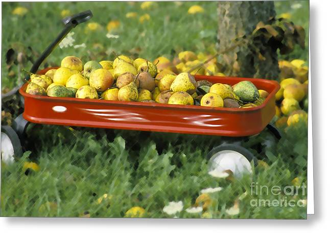 Fall Fruit Greeting Cards - Pears in a Wagon Greeting Card by Gordon Wood