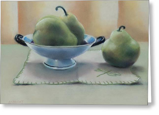 Napkin Pastels Greeting Cards - Pears Greeting Card by Judy Albright