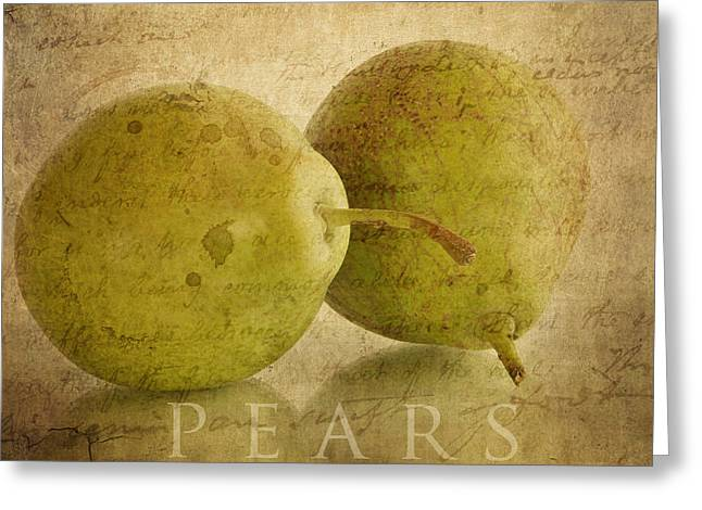 Pear Art Greeting Cards - Pears Greeting Card by Kathy Jennings