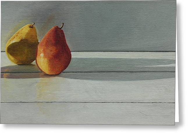 Bartlett Greeting Cards - Pears Long Shadow Greeting Card by Nancy Teague