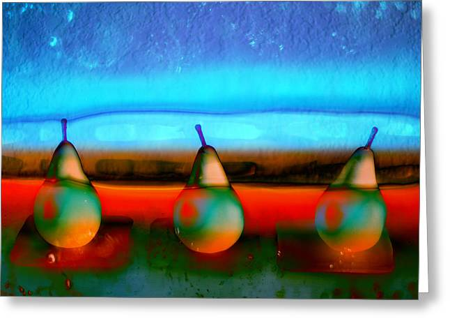 Bright Greeting Cards - Pears on Ice 01 Greeting Card by Carol Leigh