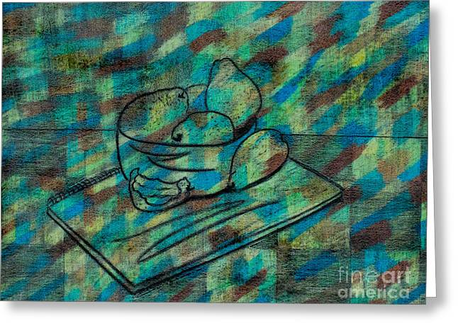 Food And Beverage Reliefs Greeting Cards - Pears Still Life Greeting Card by Tracy Pickett