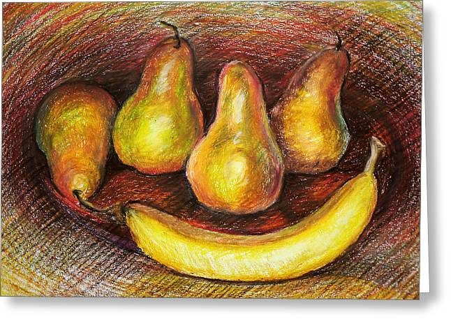 Food And Beverage Pastels Greeting Cards - Pears Greeting Card by  Svetlana Nassyrov
