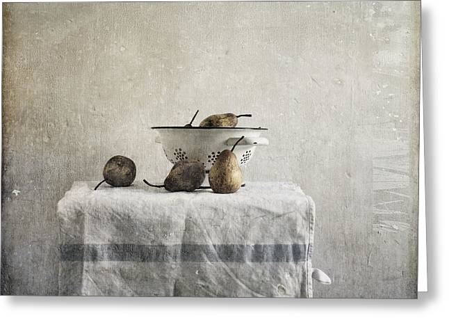 Pears Under Grunge Textures Greeting Cards - Pears under grunge Greeting Card by Paul Grand