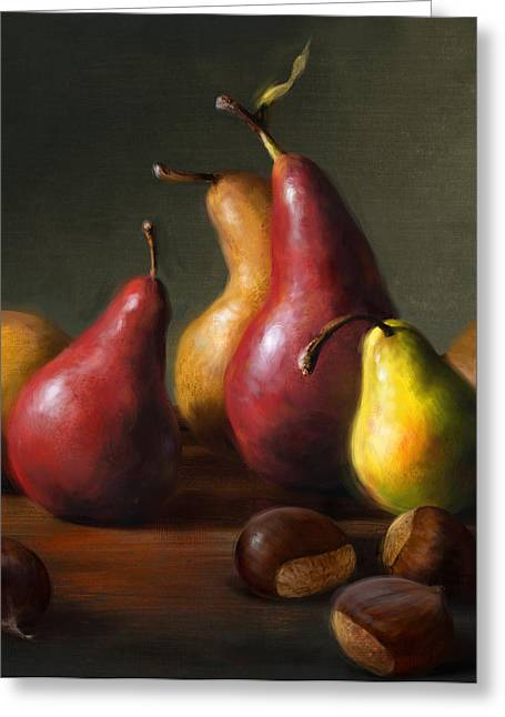 Cooks Illustrated Paintings Greeting Cards - Pears with Chestnuts Greeting Card by Robert Papp