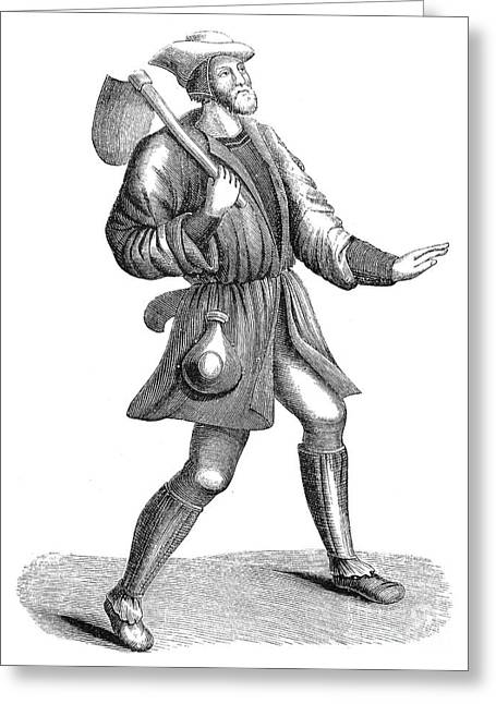 Peasant, 15th Century Greeting Card by Granger