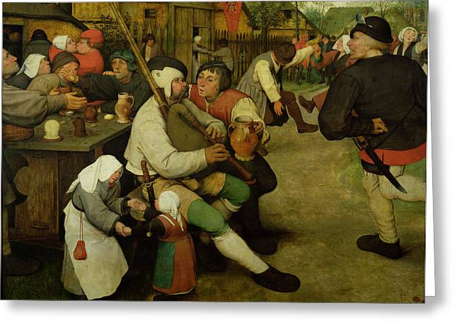 Peasant Greeting Cards - Peasant Dance Greeting Card by Pieter the Elder Bruegel