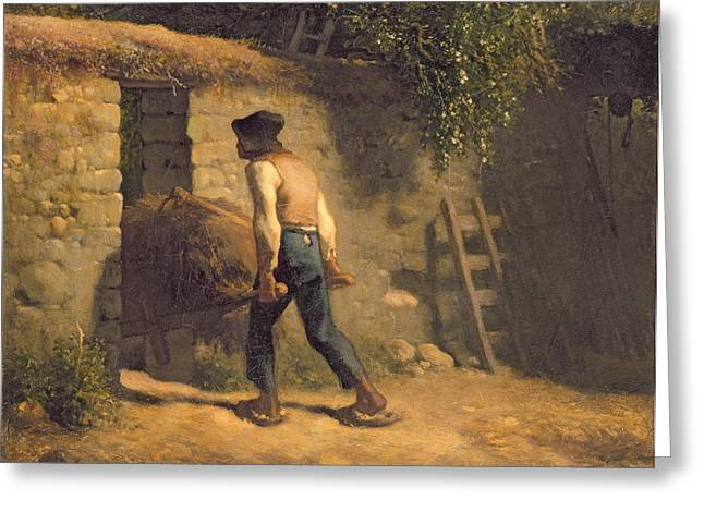 Pushing Greeting Cards - Peasant with a Wheelbarrow Greeting Card by Jean-Francois Millet