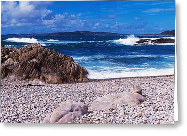 Ocean Panorama Greeting Cards - Pebble Beach,inishowen, View Of Malin Greeting Card by The Irish Image Collection