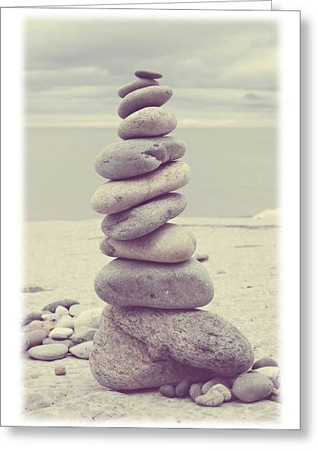 Stack Rock Greeting Cards - Pebble Tower Greeting Card by Mal Bray