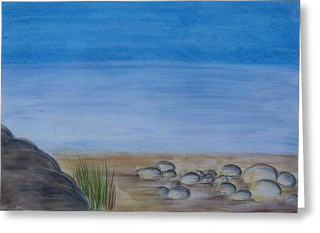 Pebbles Pastels Greeting Cards - Pebbles By The Shore Greeting Card by Christina Arsenis