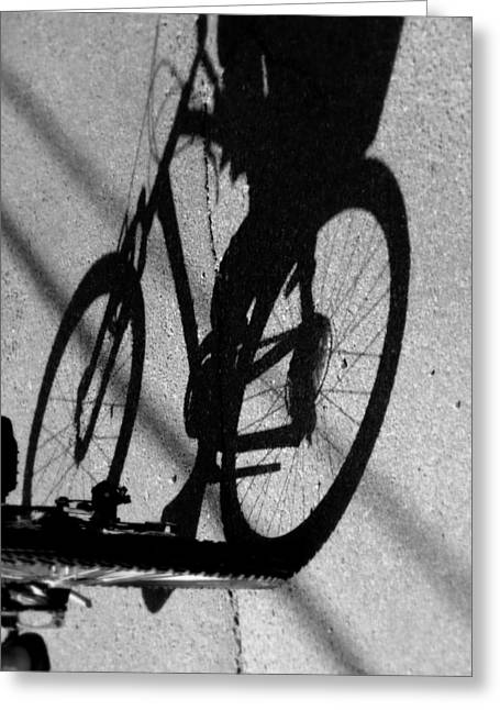 Ghostly Greeting Cards - Pedal Pusher Greeting Card by Karen Wiles