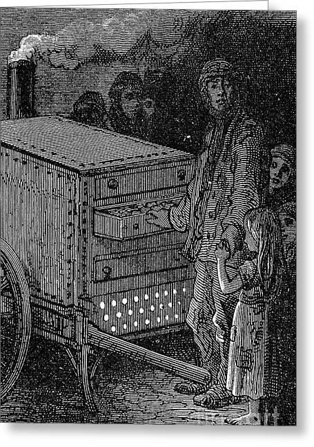 Peddler Greeting Cards - Peddlers: Potato Man Greeting Card by Granger